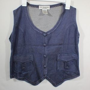 Lew Magram Women's Denim Vest  with button Size 10